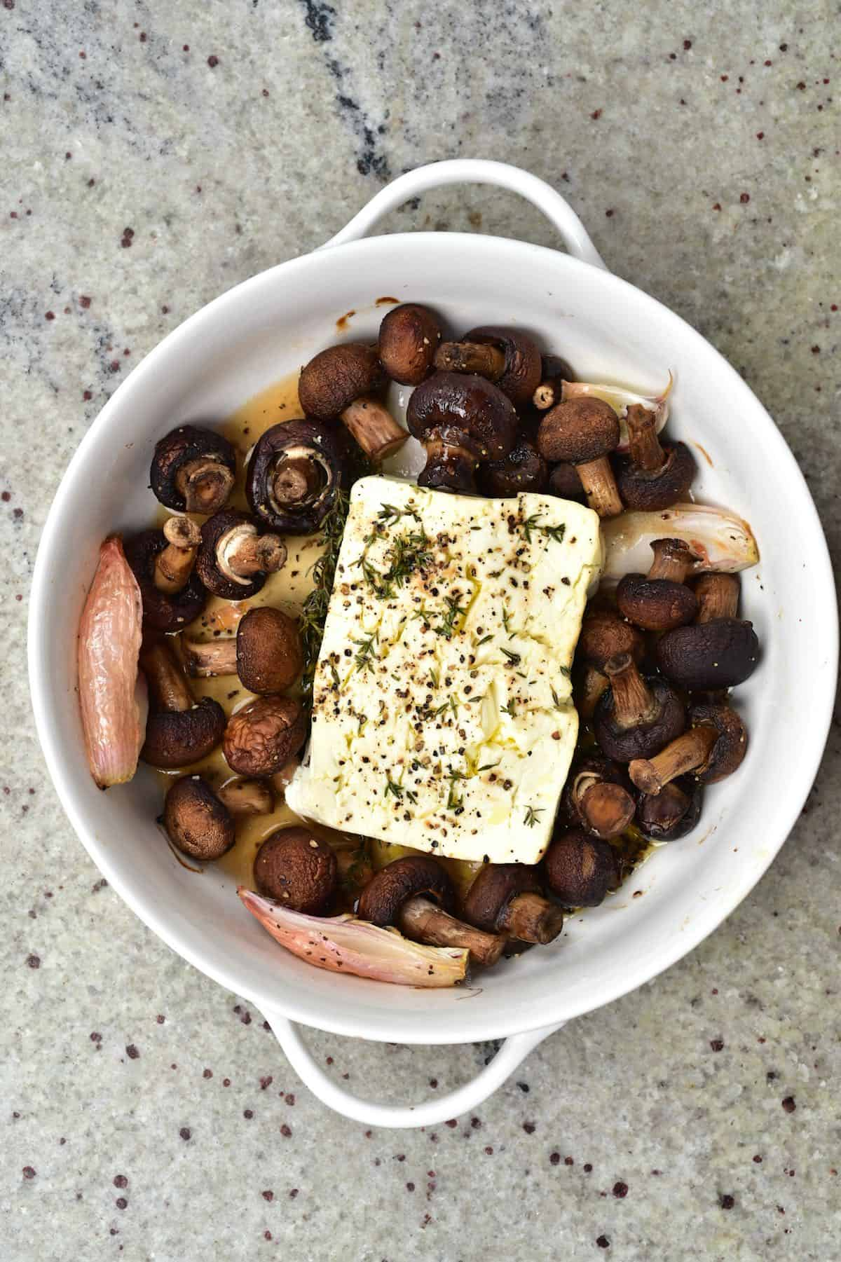 Baked Feta and Mushrooms in a oven dish