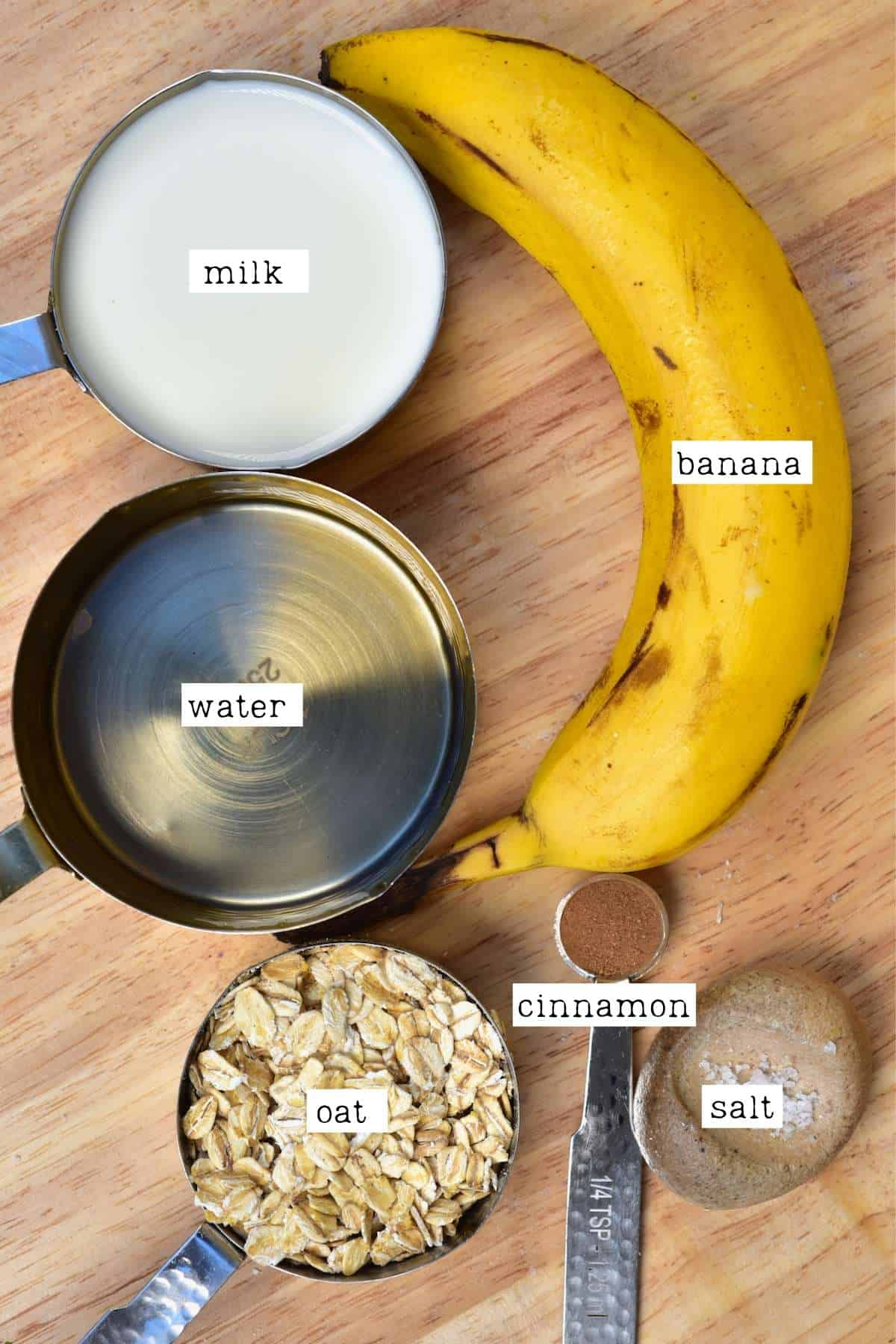 Ingredients for banana oatmeal