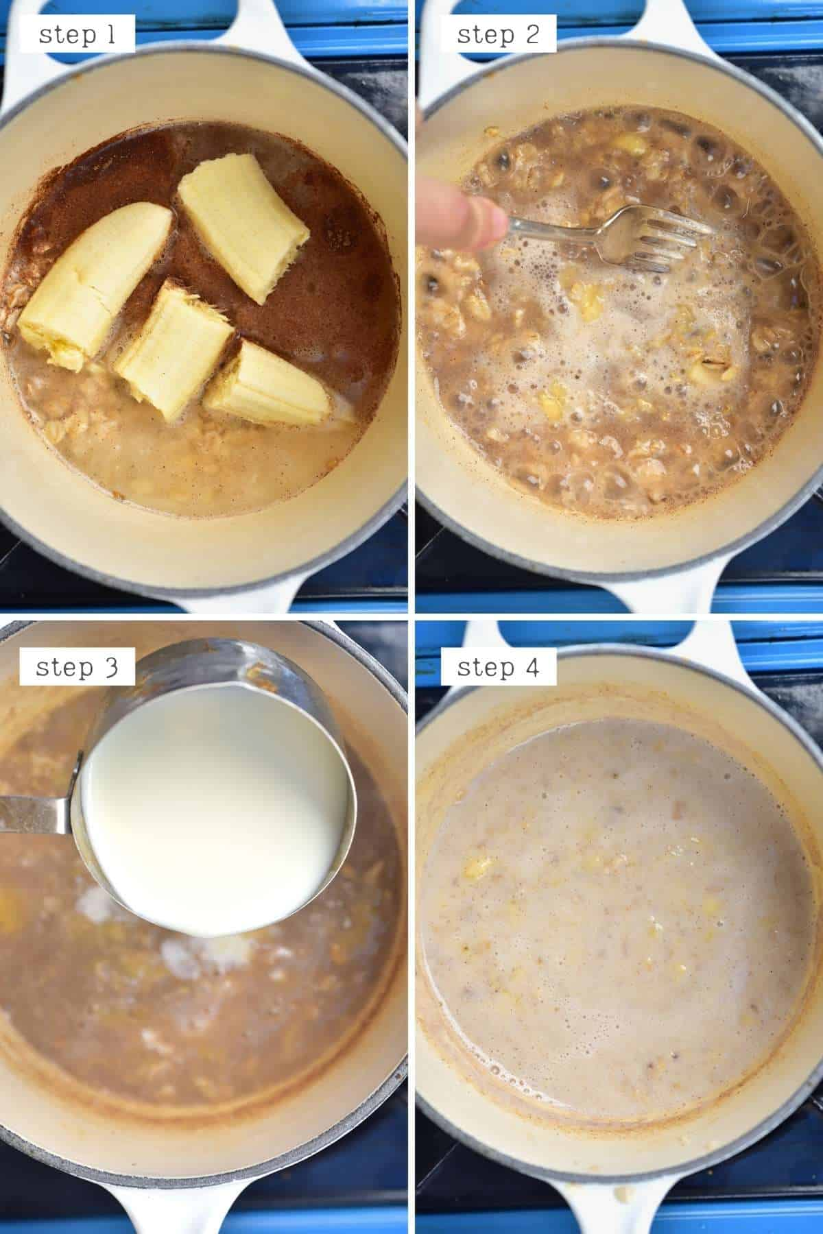 Steps for making banana oatmeal
