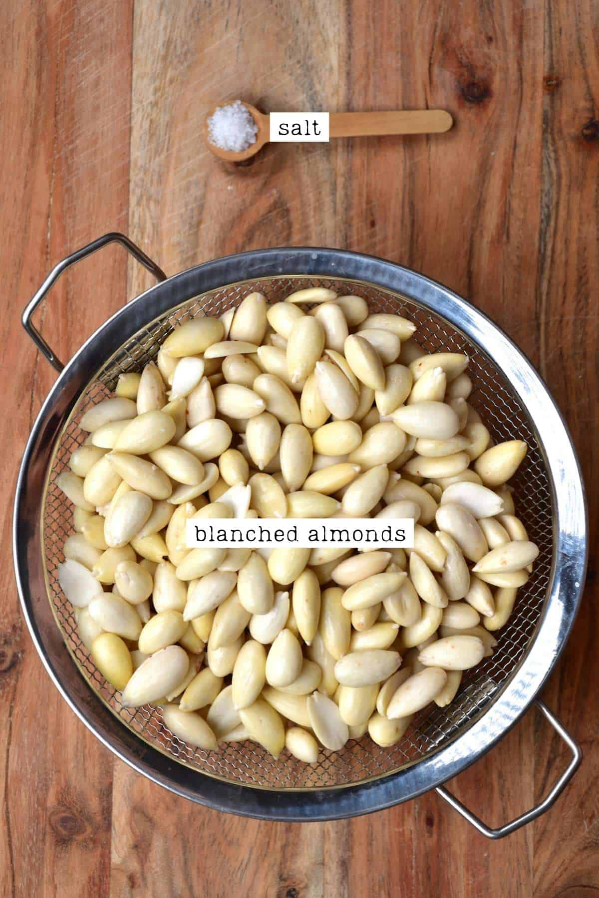 Blanched almonds and salt
