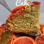 A slice of blood orange cake