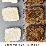Three unbaked tofu slices and three baked crispy tofu slices