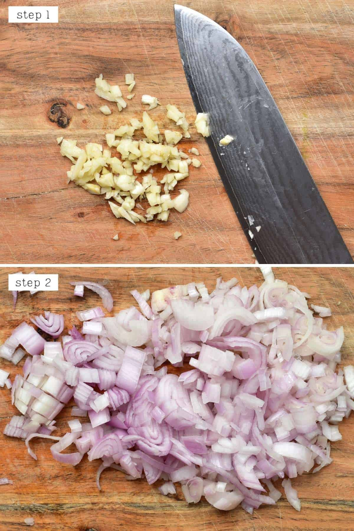 Cutting garlic and onion