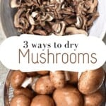 Dried mushrooms in a bowl and fresh mushrooms in a colander