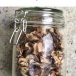 Dried mushroom slices in a glass jar