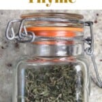 Dried thyme in a small jar