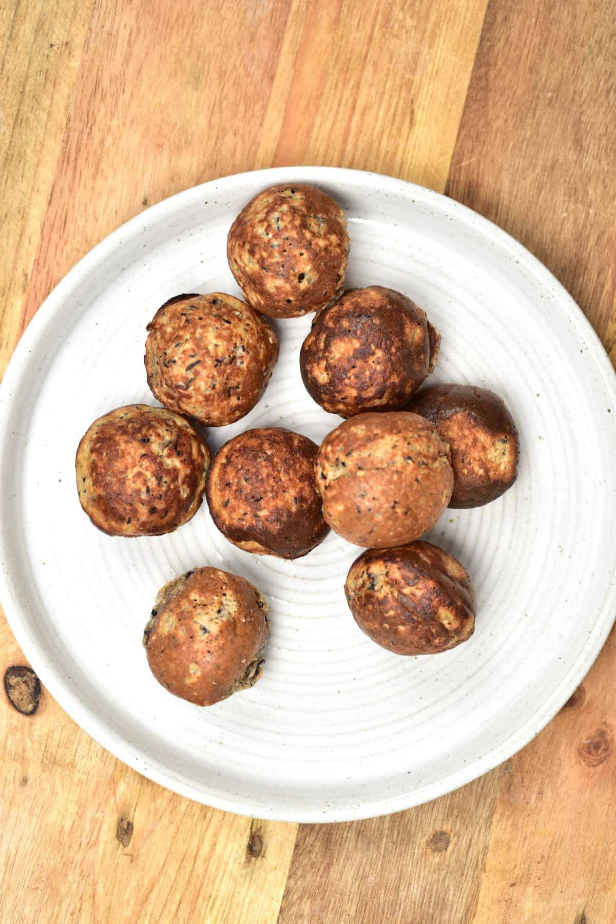 Mini pancake balls served in a plate