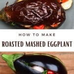 Baked and raw eggplant stuffed with tomatoes and garlic