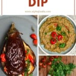 Steps for making roasted eggplant dip