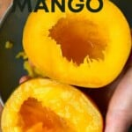 Two mango halves with no seed