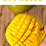 Mango sliced into grid pattern