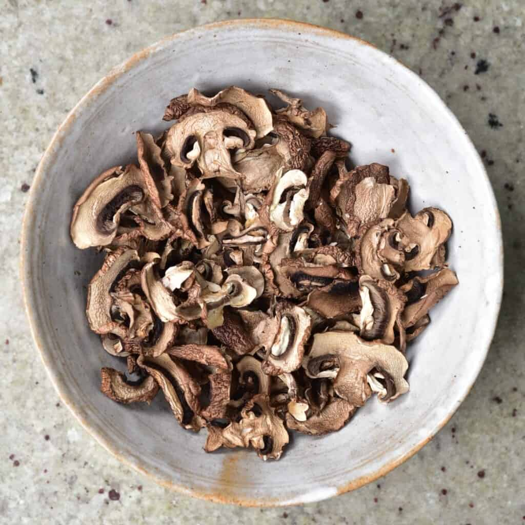 A bowl with homemade dried mushrooms