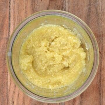 Garlic paste in a jar