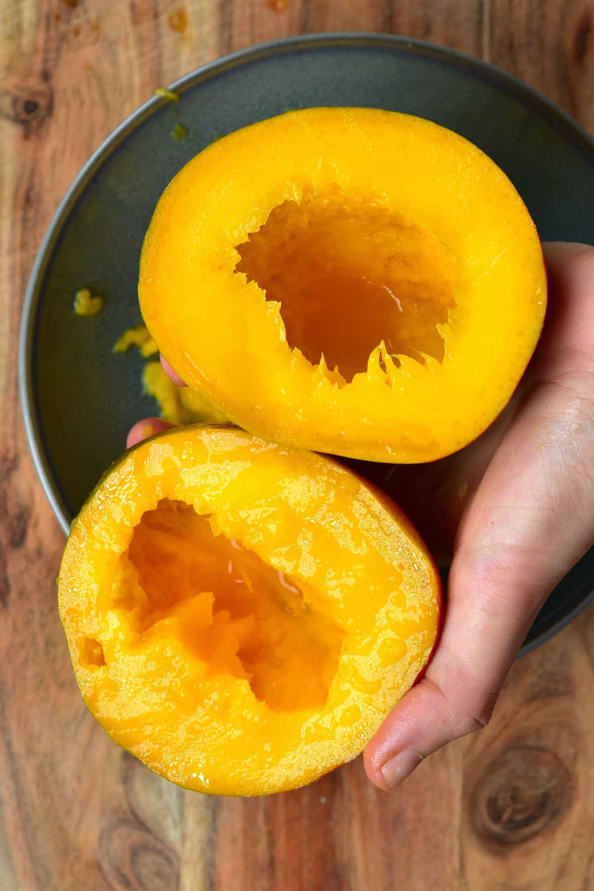 Mango open in two with no seed