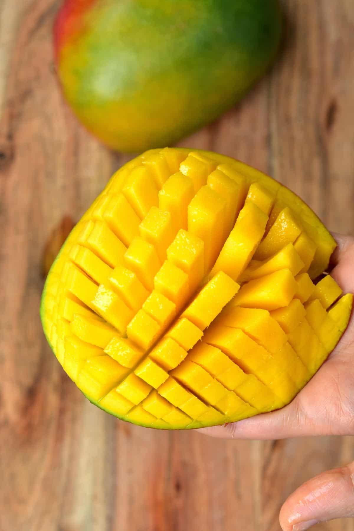 Diced mango half