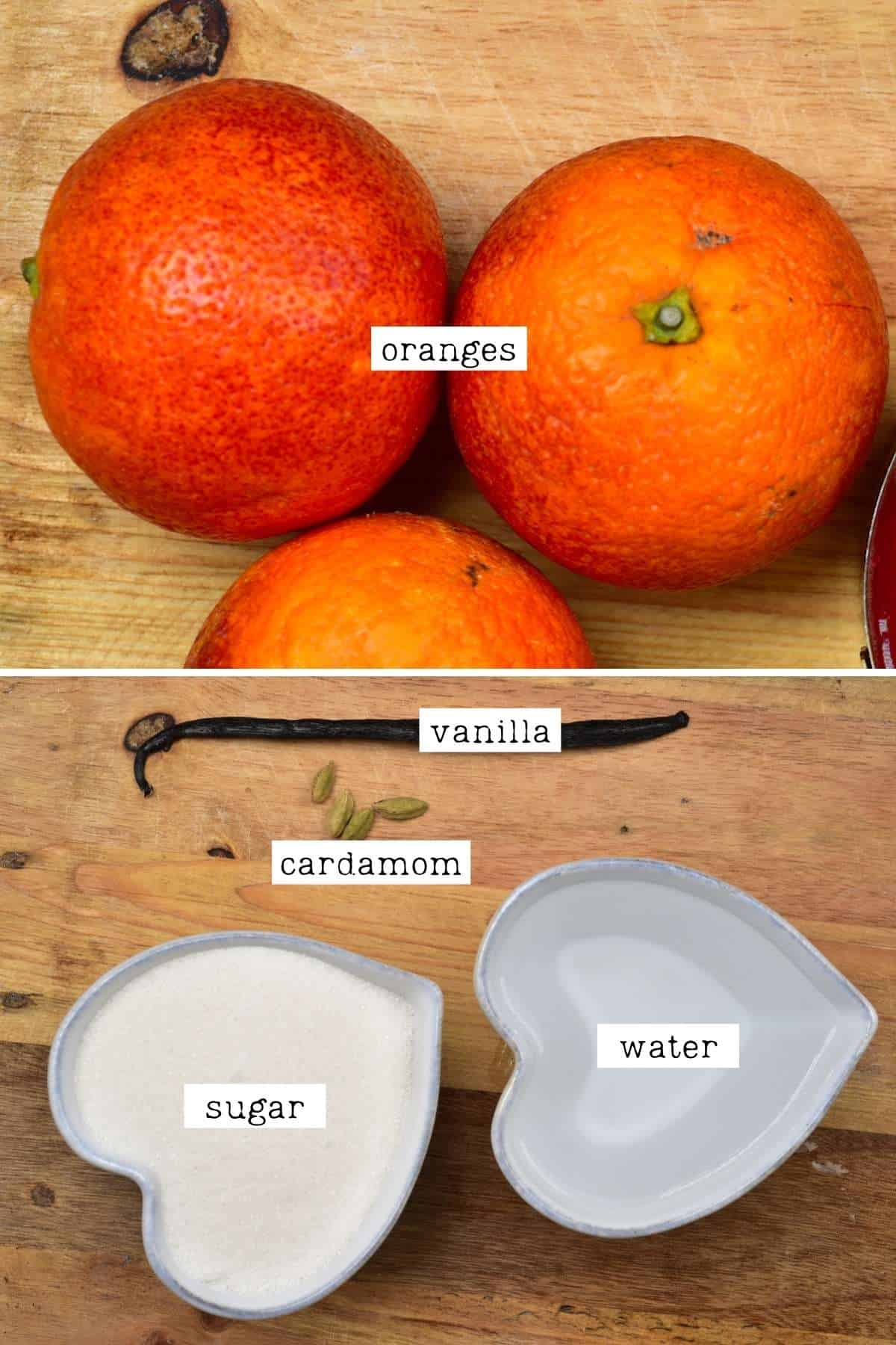 Ingrdients for candied oranges
