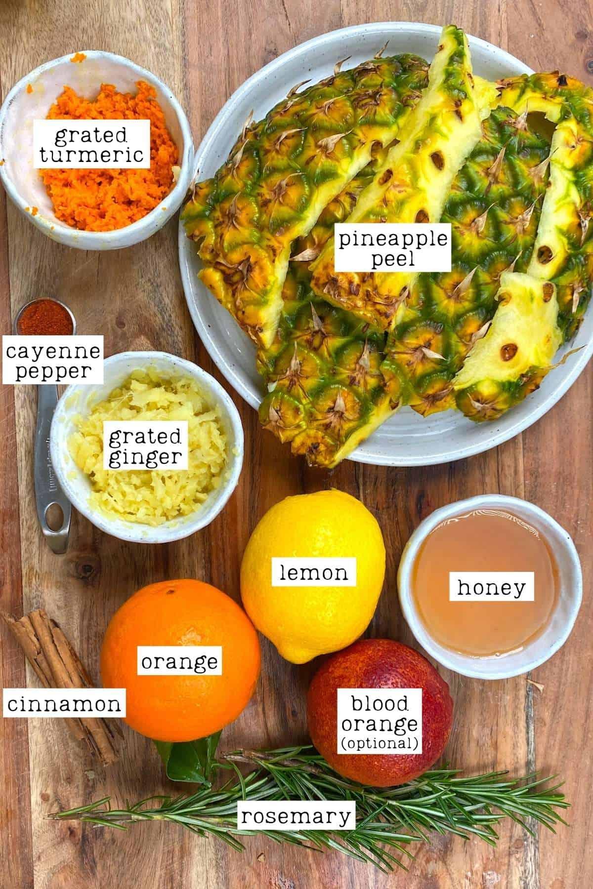 Ingredients for Pineapple Peel Tea