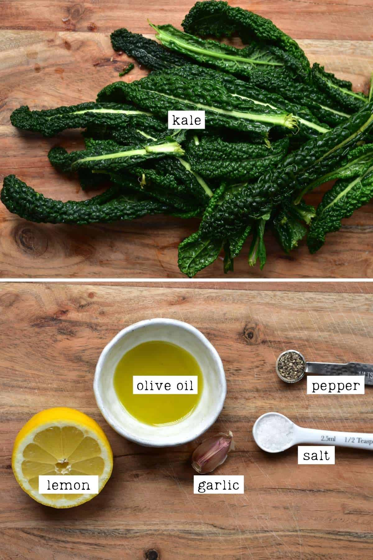 Ingredients for a kale salad