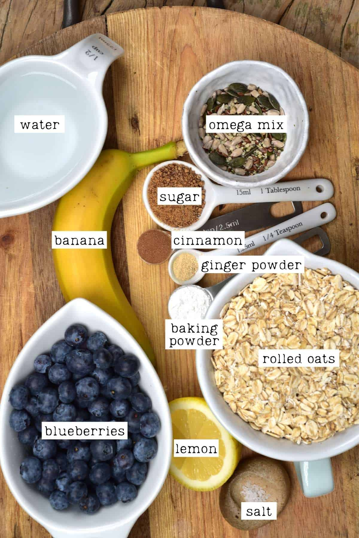 Ingredients for baked blueberry oats