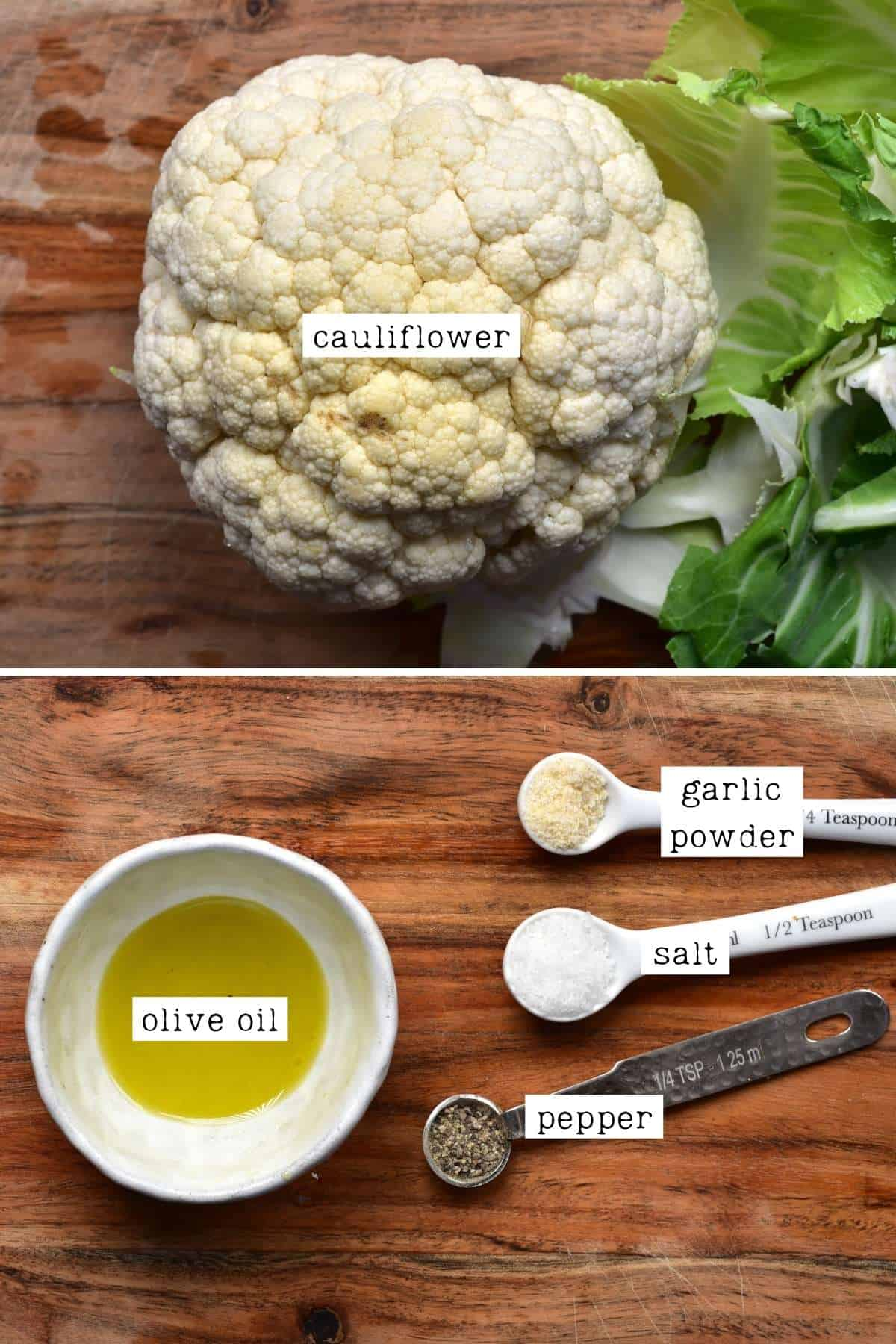 Ingredients for baked cauliflower