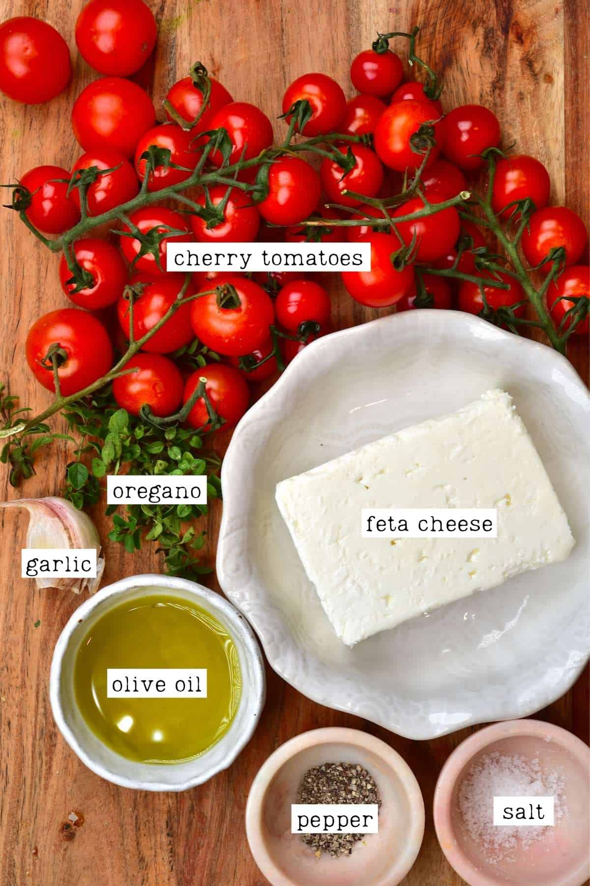 Ingredients for feta and tomato pasta