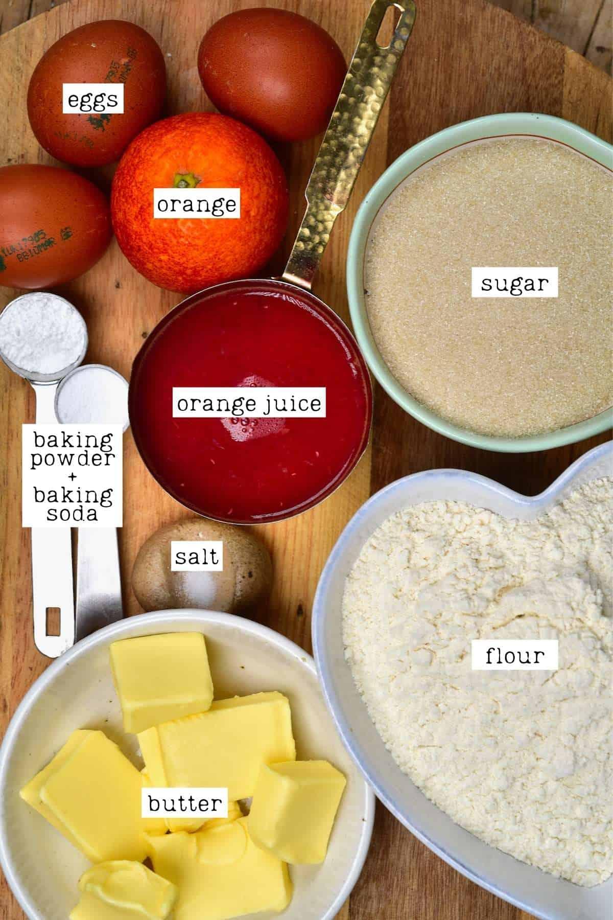 Ingredients for orange cake