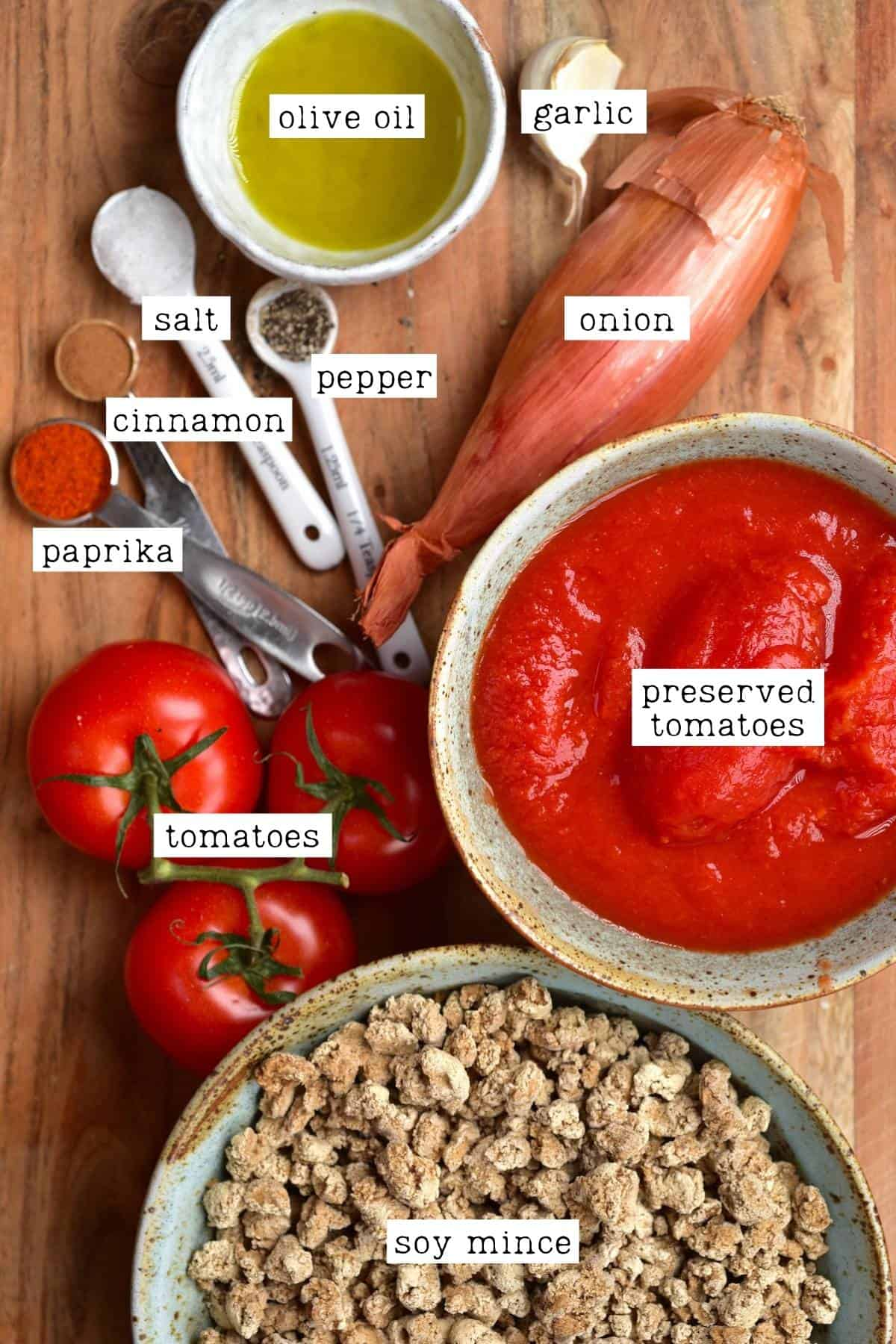 Ingredients for vegan bolognese sauce