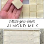 Frozen almond butter cubes in a ice cube tray