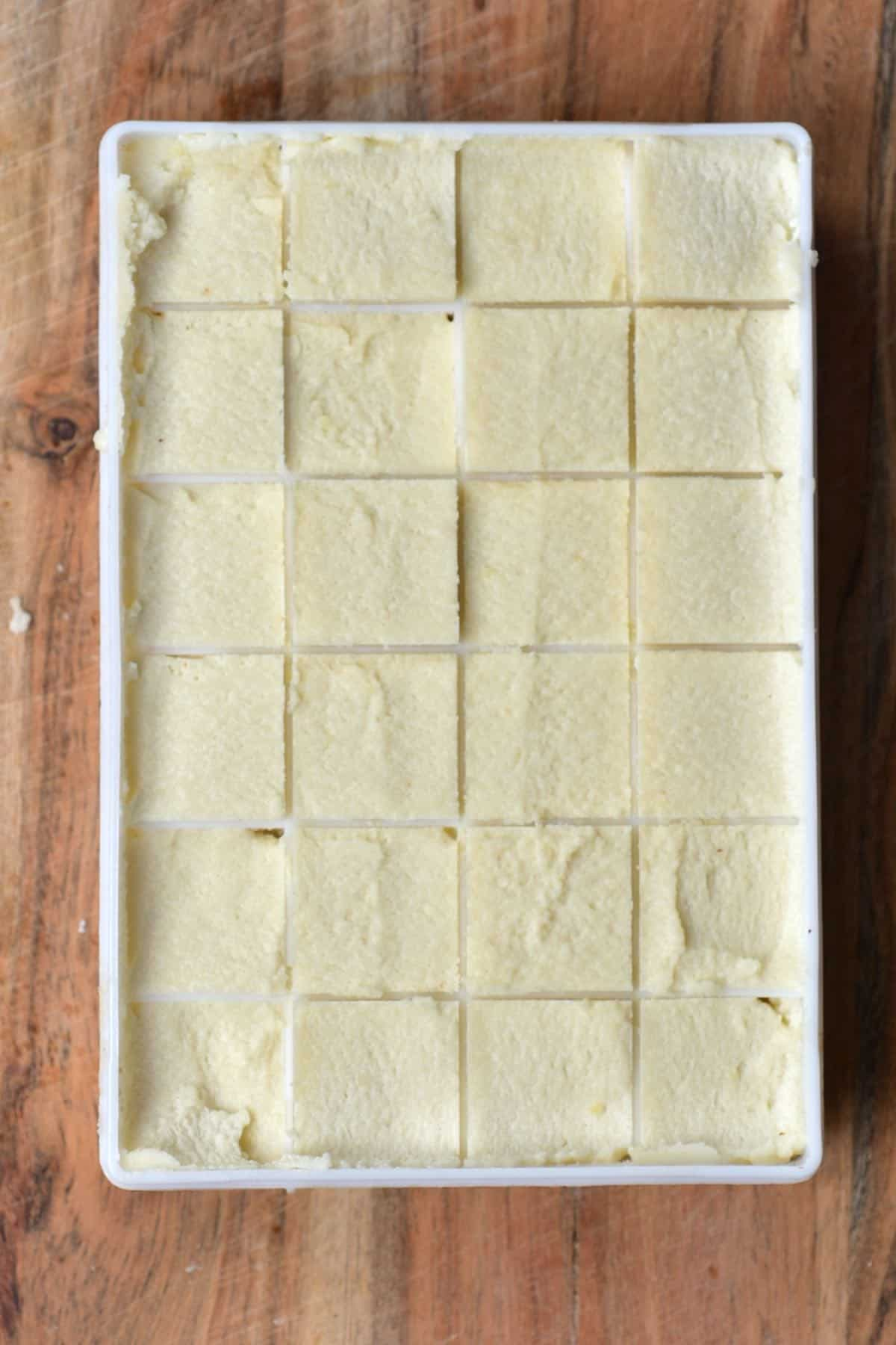 Almond butter in ice cube tray