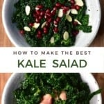 Steps to making kale salad with pomegranate seeds