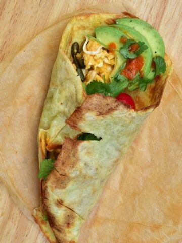 Potato flatbread wrap with avocado and other ingredients