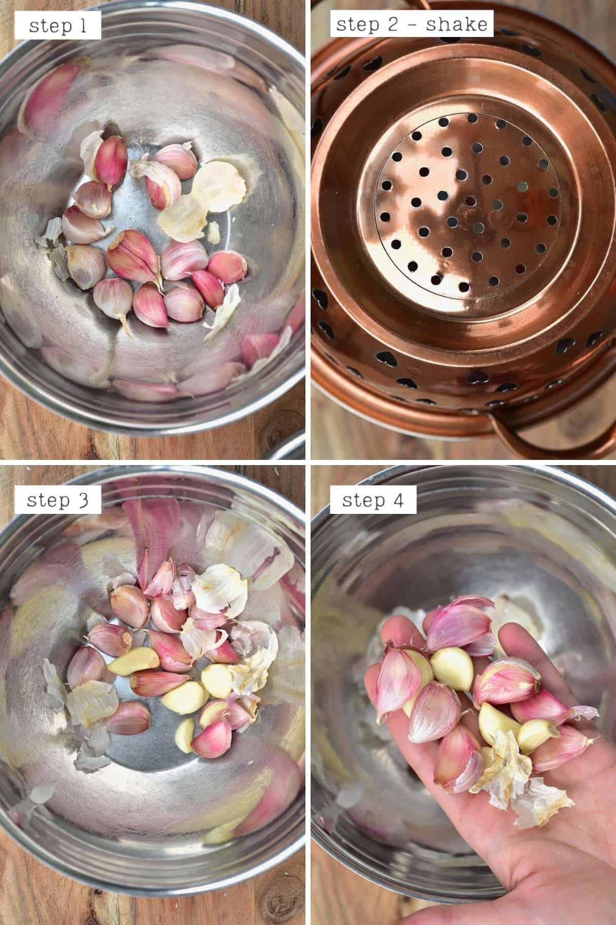 Peeling garlic using two metal bowls