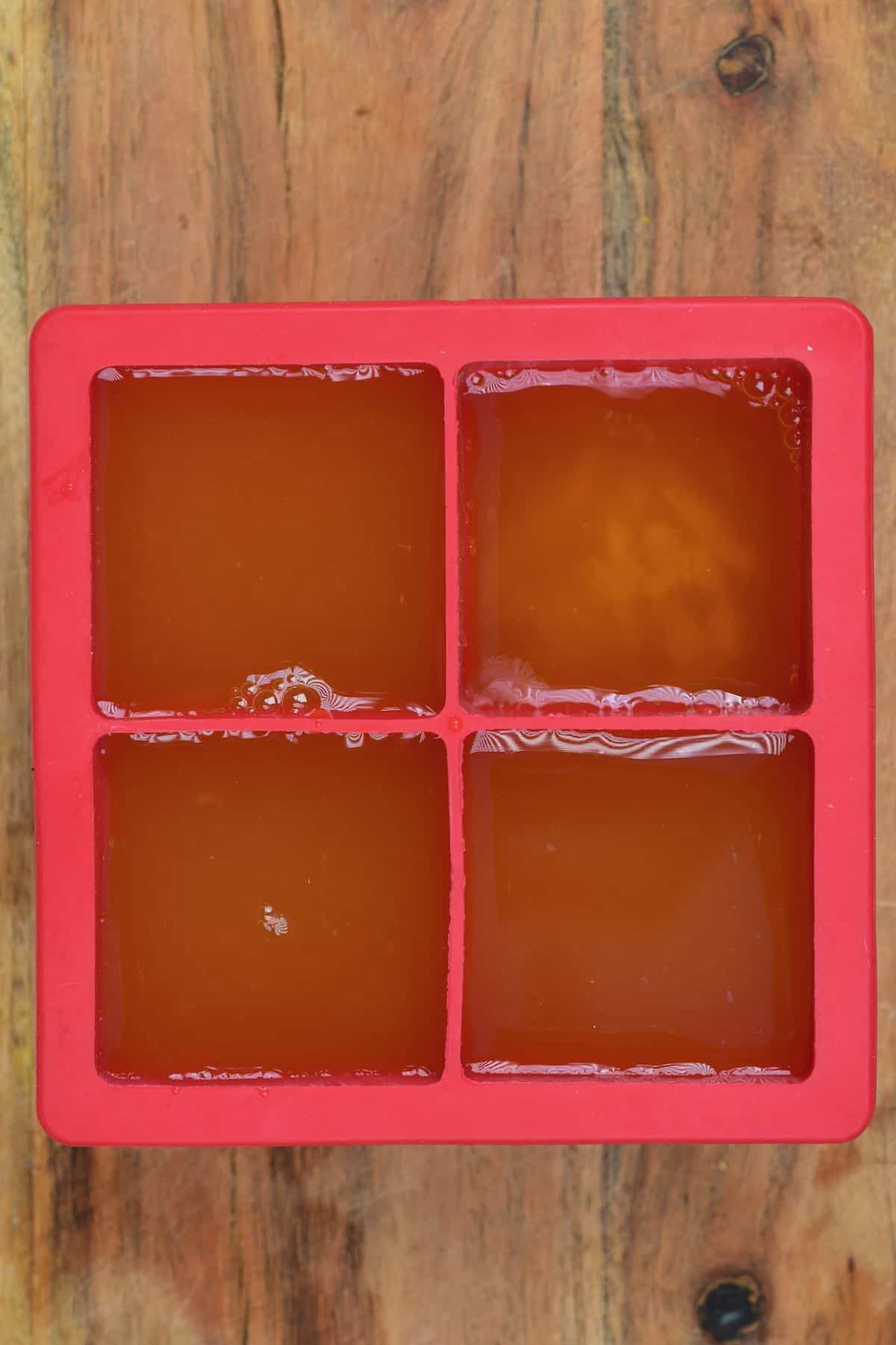 Ice cube tray with pineapple tea