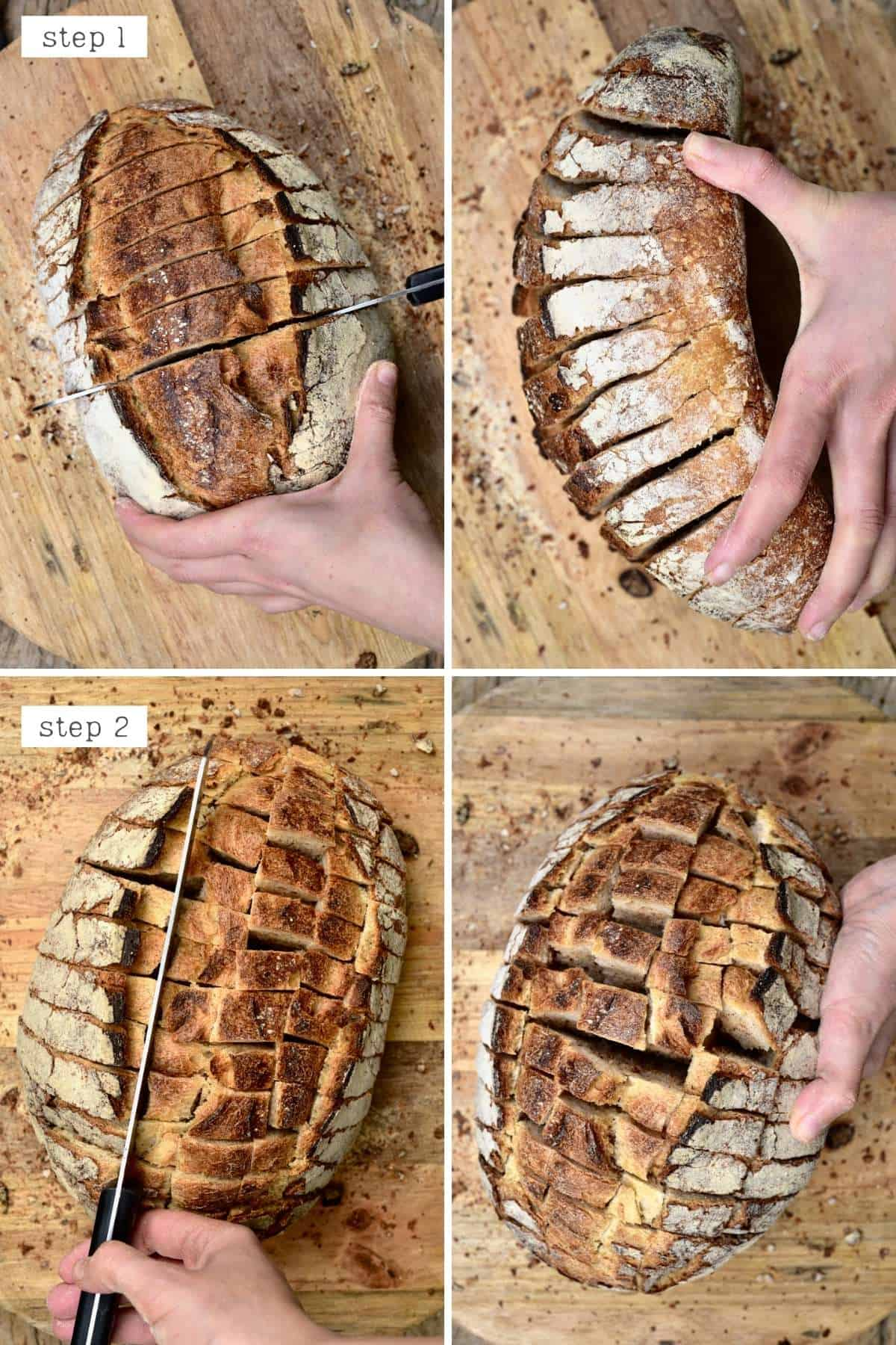 Steps for cutting pull-apart bread