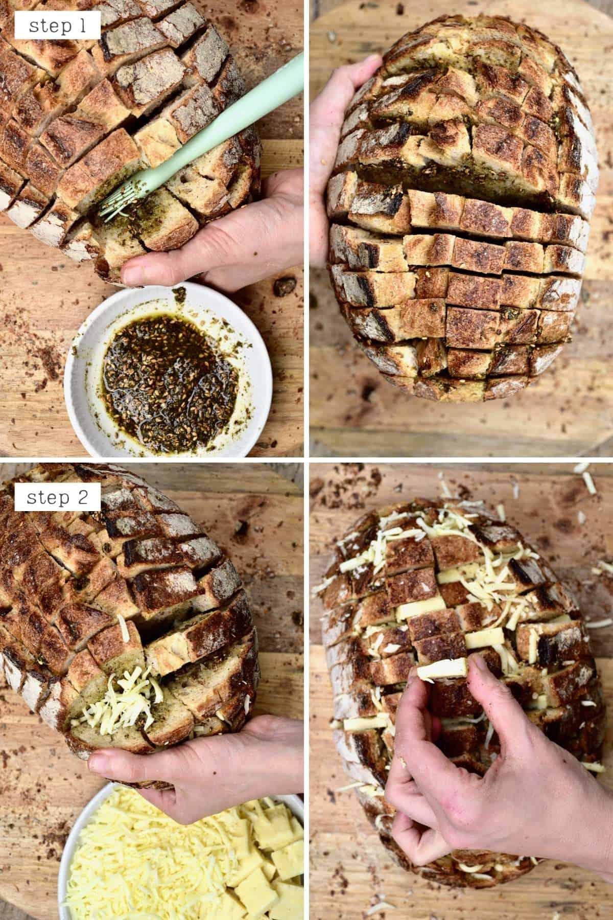 Steps for filling pull-apart bread