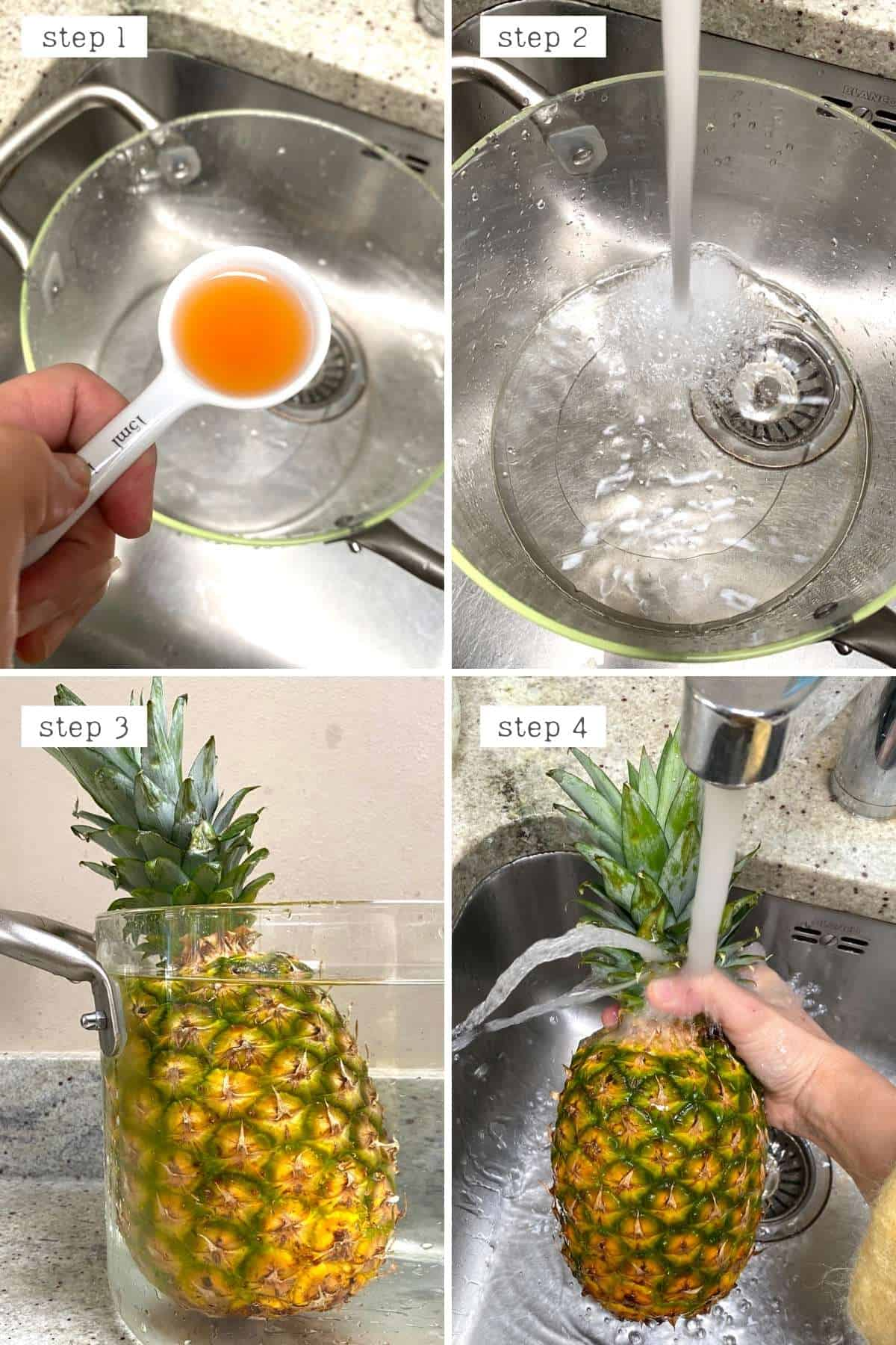 Soaking pineapple in water