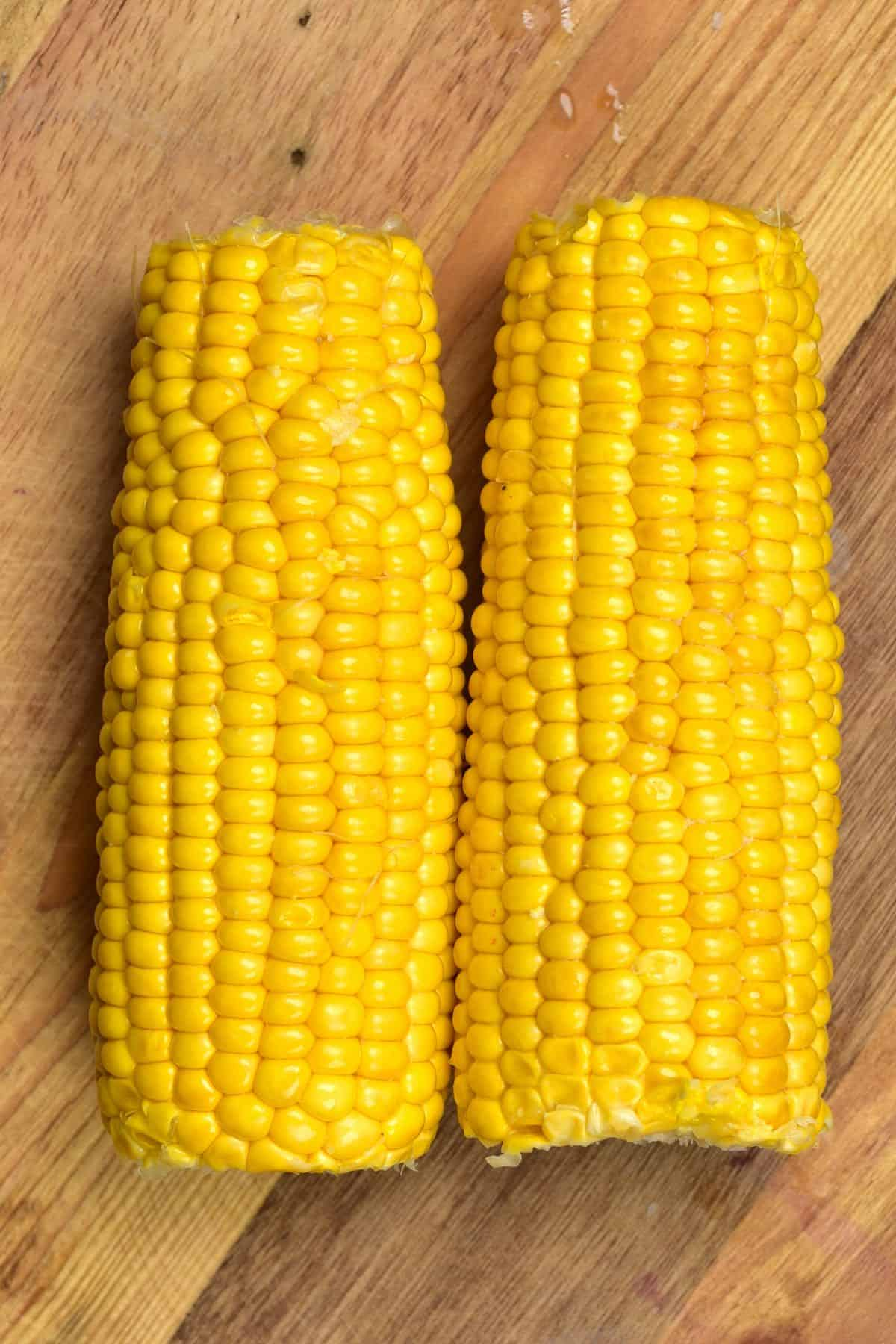 Two corn on cobs