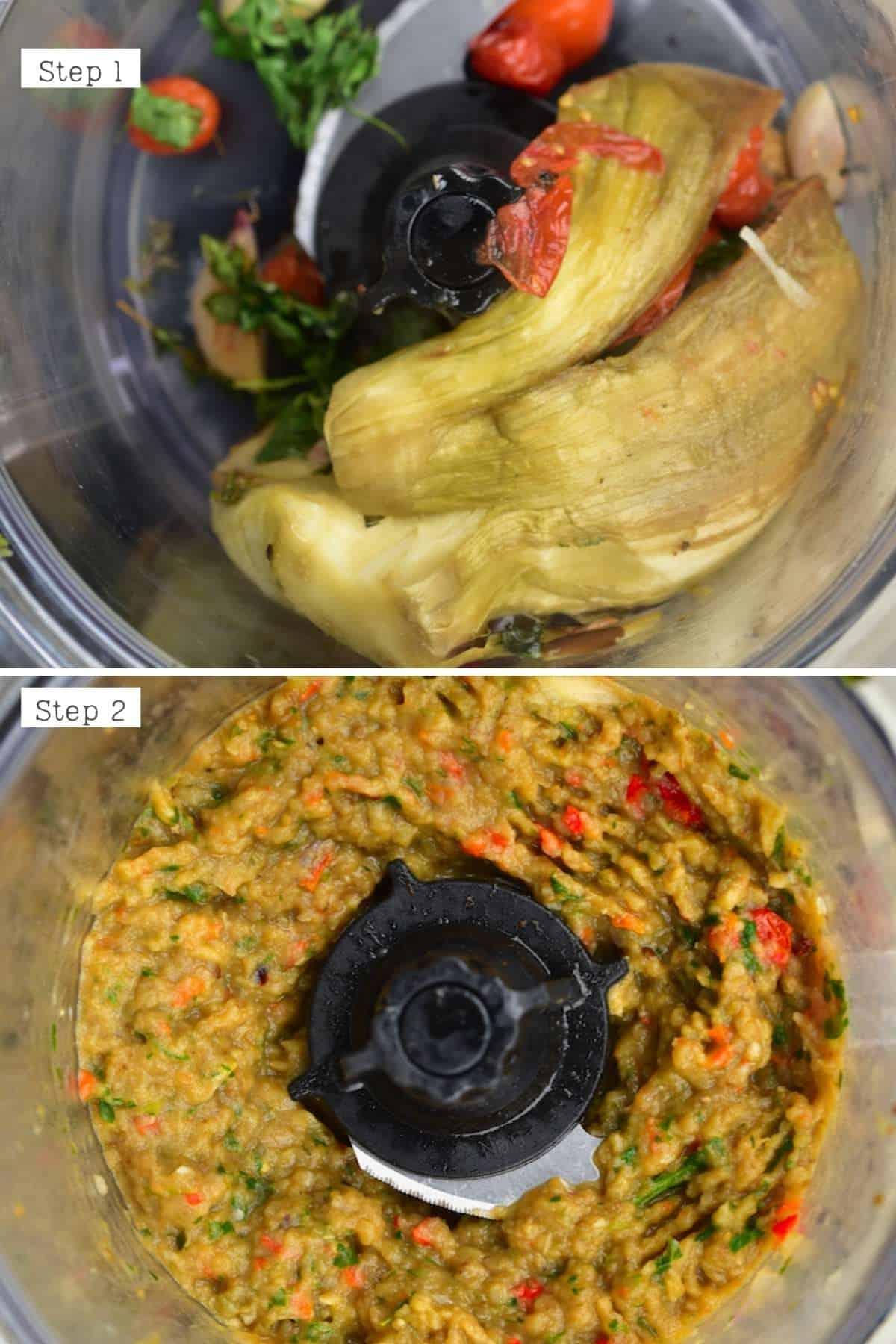 Steps for blending eggplant dip