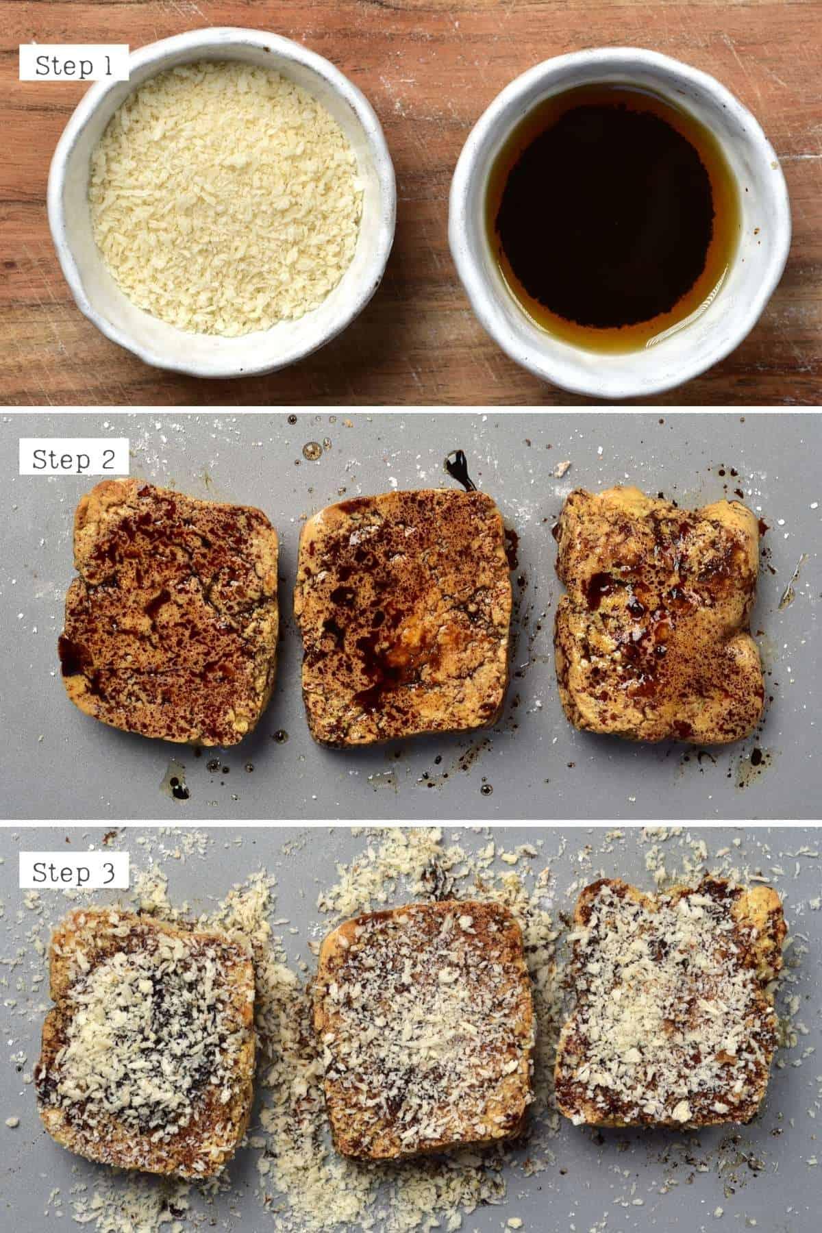 Steps for breading tofu
