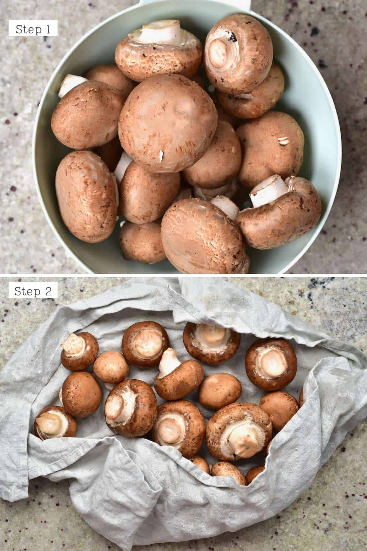 Steps for cleaning mushrooms