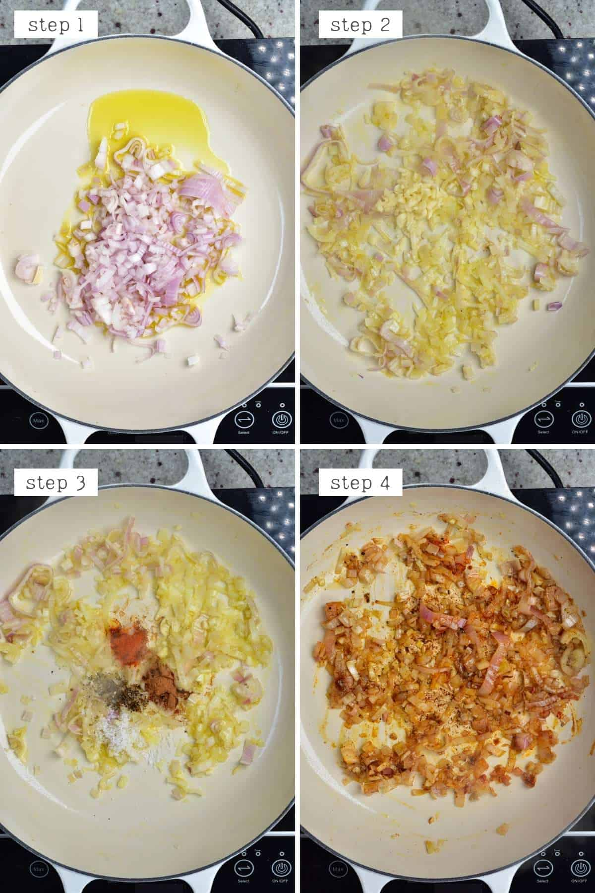 Steps for cooking onion and garlic with spices