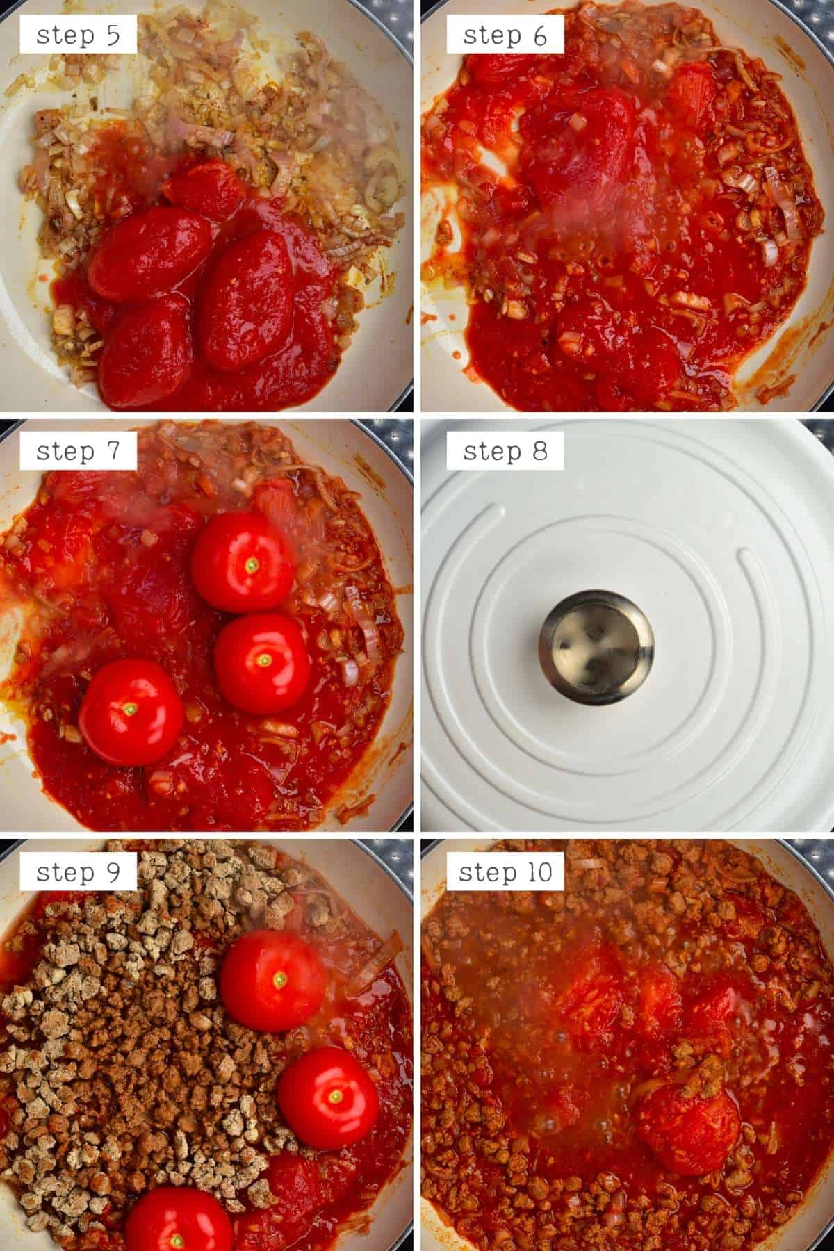 Steps for cooking vegan bolognese sauce