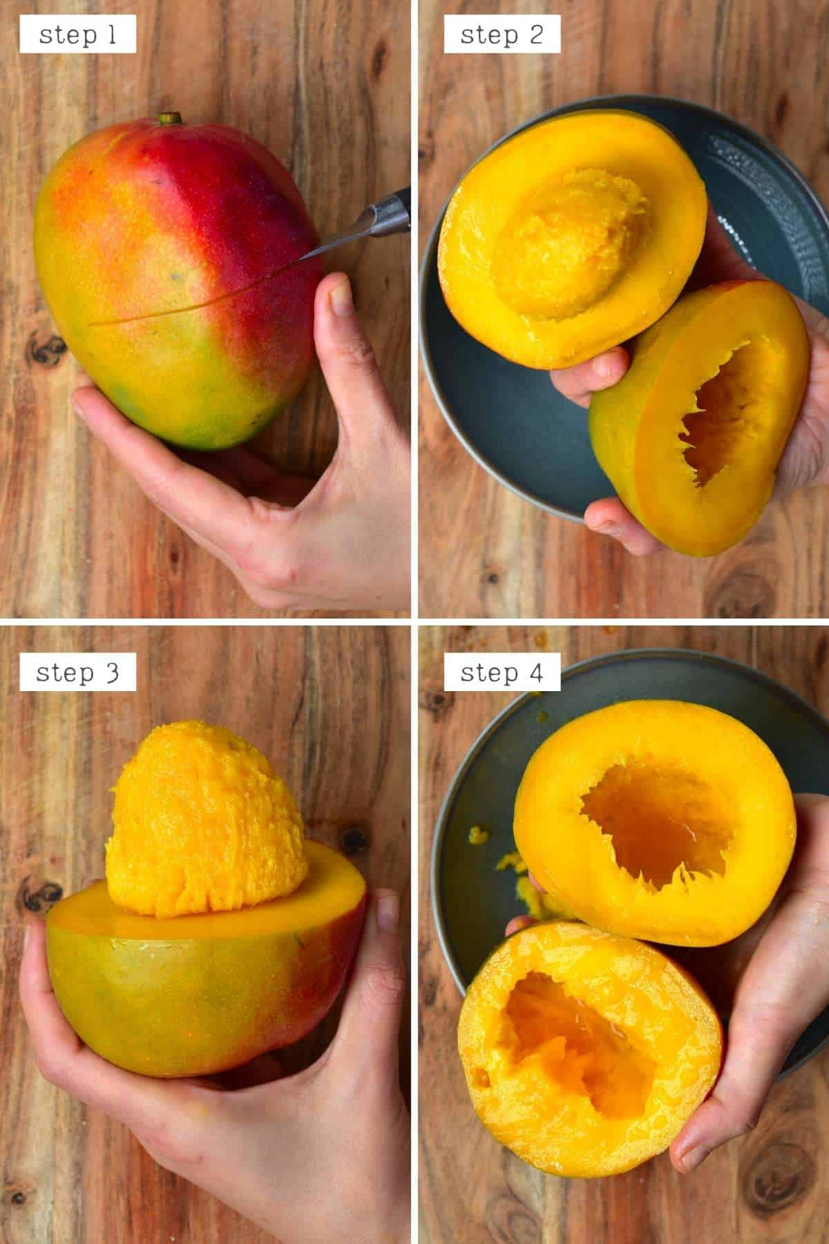 Steps for cutting a mango through the middle