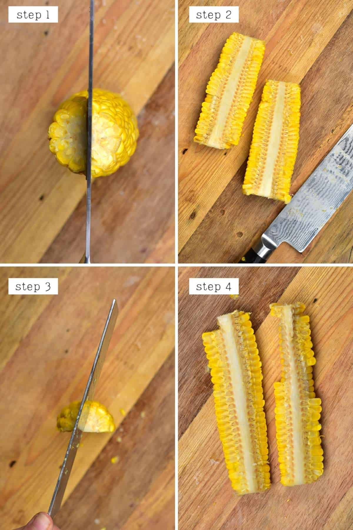 Steps for cutting corn on a cob