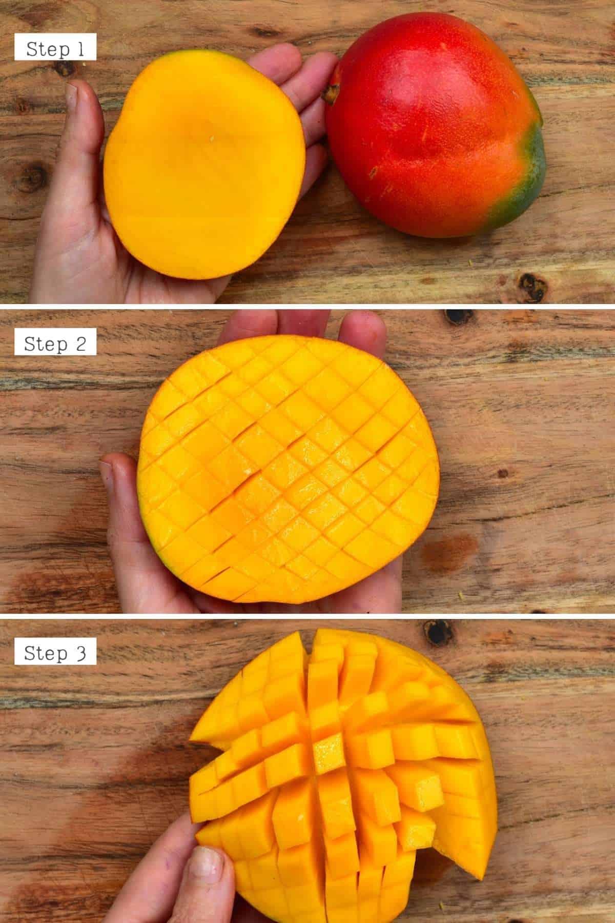 Steps for cutting mango