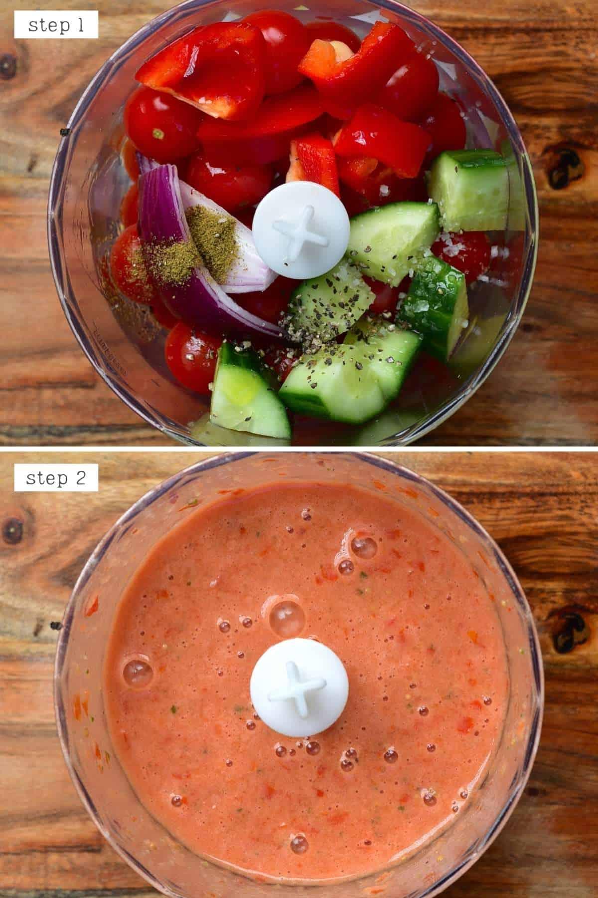 Steps for making gazpacho