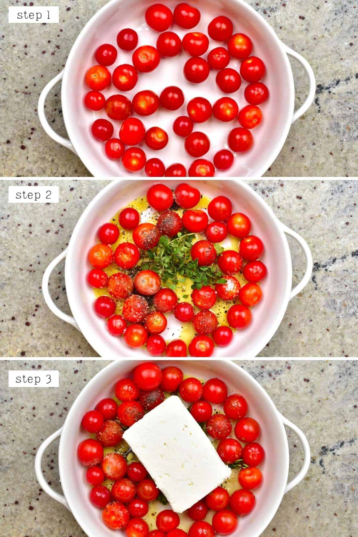Steps for making tomato feta pasta