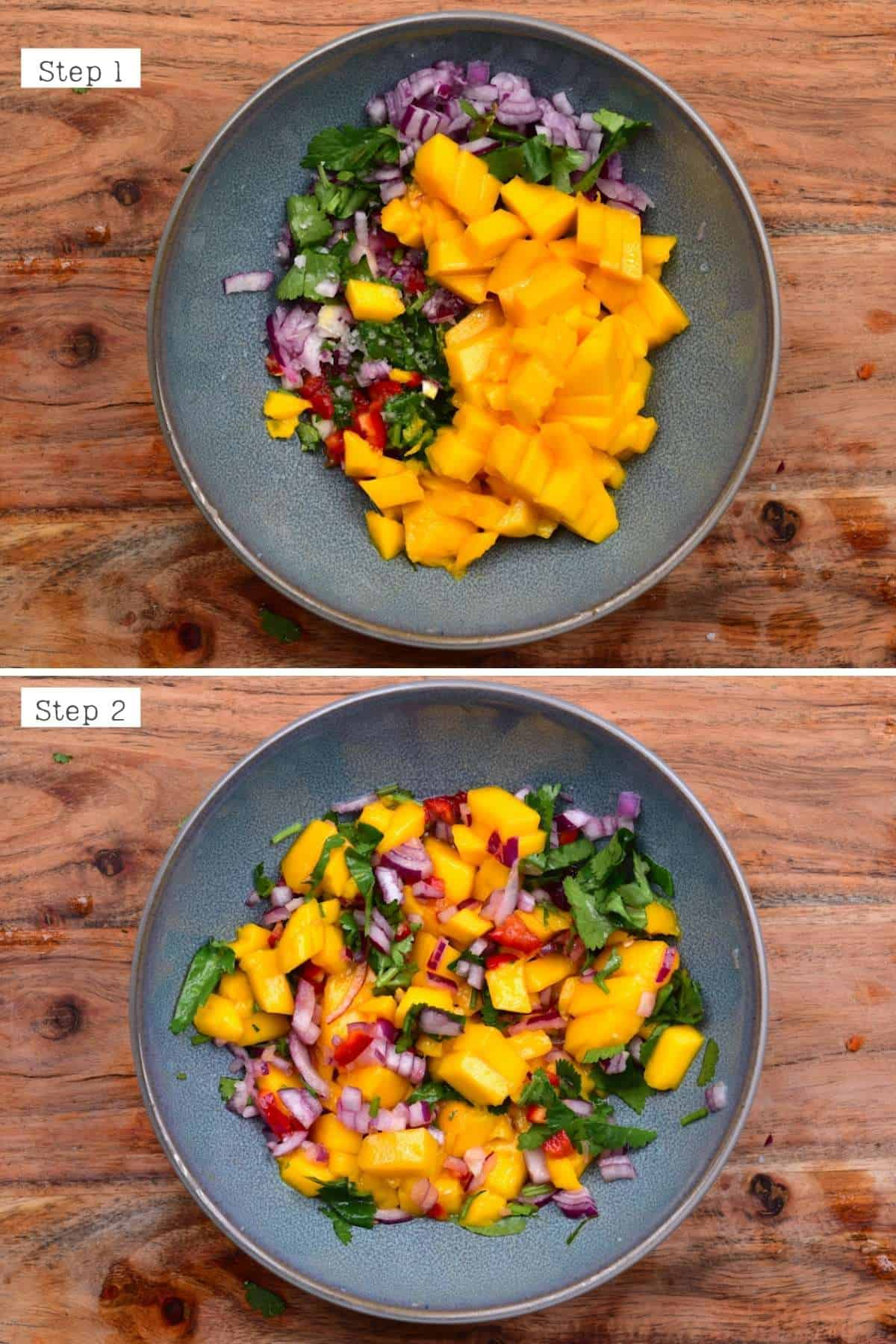 Steps for mixing mango salsa