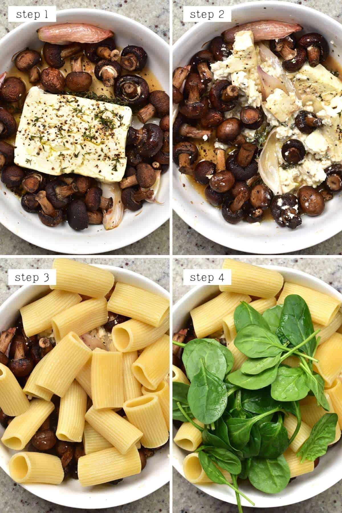 Steps for mixing mushroom feta pasta