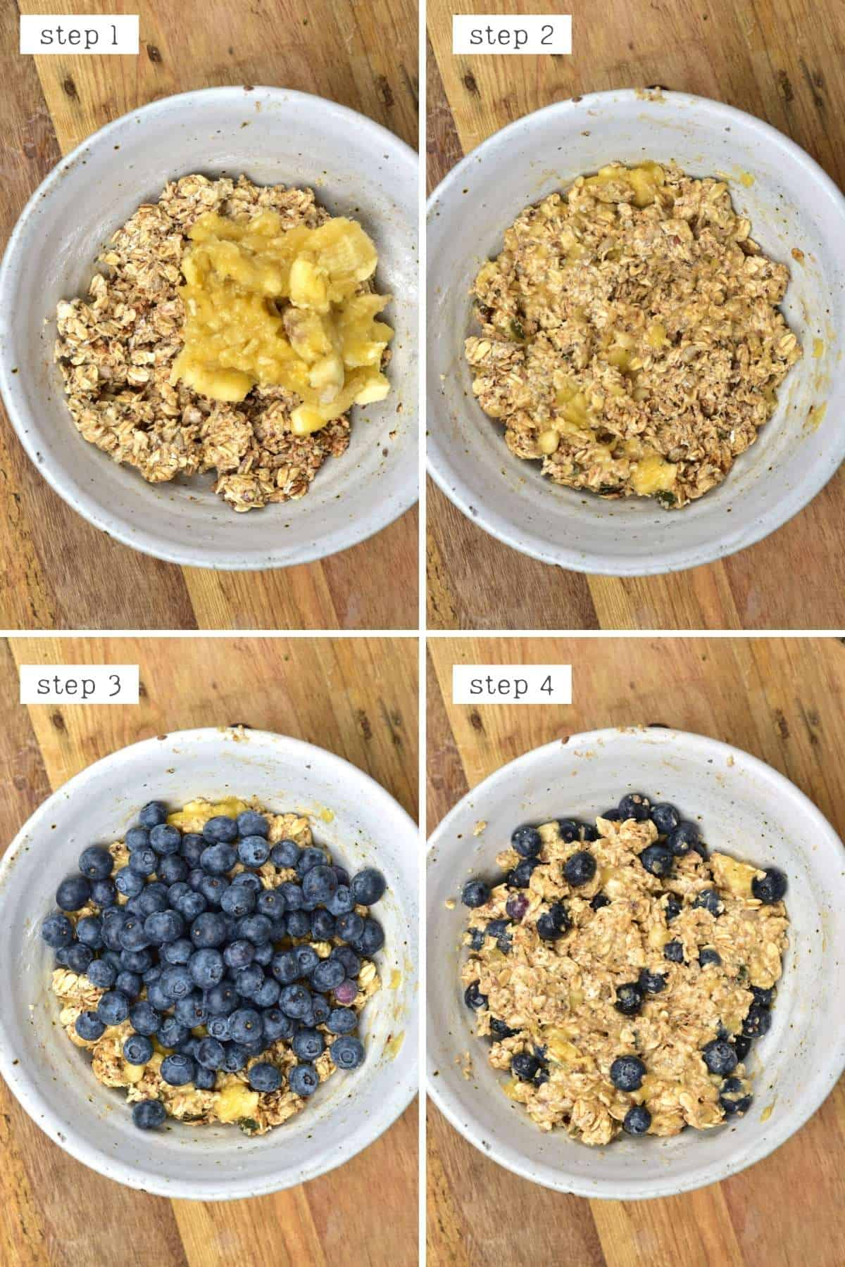 Steps for mixing oats with banana and blueberries